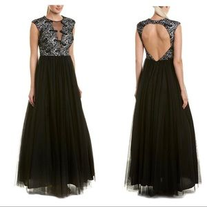 Aidan Mattox Silk-trim Gown Women's Black